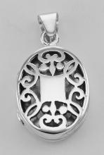 Sterling Silver Oval Filigree Locket - Aromatherapy Locket #98178v2
