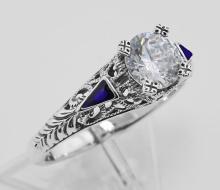 Filigree Ring w/ CZ / Enamel - Sterling Silver #98142v2