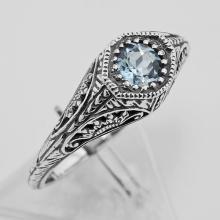 Blue Topaz Filigree Ring - Sterling Silver #98167v2