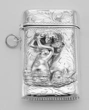 Etched Mermaid Repousse Match Safe Vesta Case Holder - Sterling Silver #98164v2
