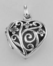 Sterling Silver Floral Filigree Heart Locket - Aromatherapy Locket #98183v2