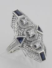 Art Deco Style Filigree Ring Genuine Sapphires & CZ - Sterling Silver #98144v2