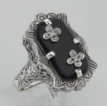 Victorian Style Black Onyx Ring with Diamond Flowers - Sterling Silver #98145v2