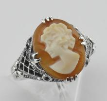 Hand Carved Italian Cameo Filigree Ring Sterling Silver #98201v2