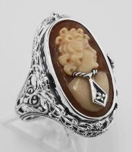 Italian Cameo / Onyx w/ Diamonds Filigree Flip Ring - Sterling #98158v2