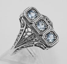 3 Stone Blue Topaz Filigree Ring - Sterling Silver #98160v2