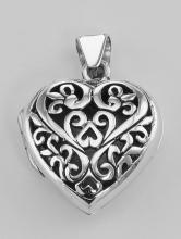 Sterling Silver Filigree Heart Locket - Aromatherapy Locket #98175v2