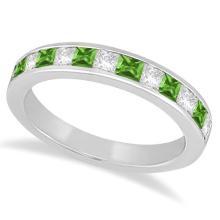 Channel Peridot and Diamond Wedding Ring Platinum (0.70ct) #69768v3