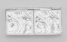 Two - Compartment Etched Pillbox for Tiny Pills Only in Fine Sterling Silver #98223v2