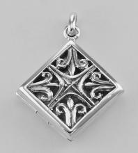 Sterling Silver Filigree Diamond Shaped Locket - Aromatherapy Locket #98185v2