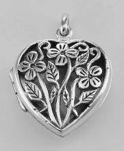 Sterling Silver Large Filigree Floral Heart Locket - Aromatherapy Locket #98188v2