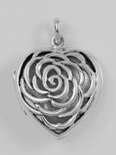 Sterling Silver Large Filigree Rose Heart Locket #98187v2