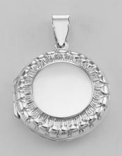 Sterling Silver Antique Style Round Locket #98177v2