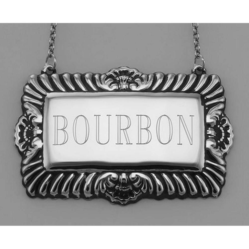 Bourbon Liquor Decanter Label / Tag - Sterling Silver #PAPPS98006