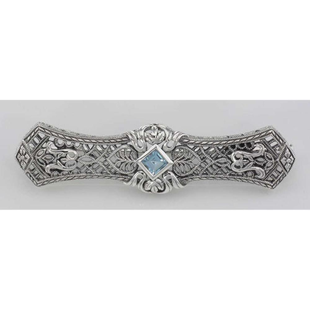 Art Deco Style Blue Topaz Filigree Bar Pin Brooch - Sterling Silver #PAPPS98085