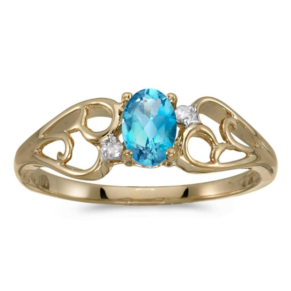 Certified 10k Yellow Gold Oval Blue Topaz And Diamond Ring 0.42 CTW #PAPPS25597