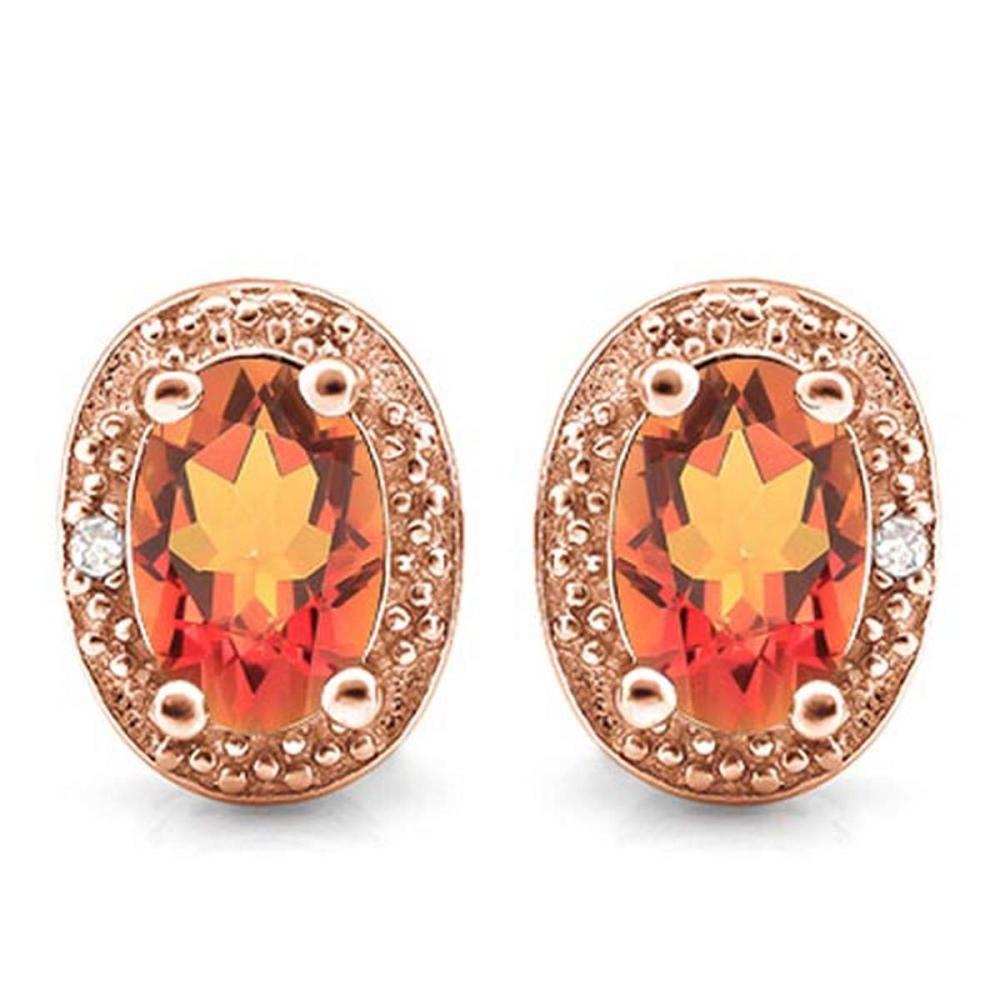 1.07 CTW AZOTIC TOPAZ 10K SOLID RED GOLD EARRING WITH 0.01 CTW DIAMOND ACCENTS #PAPPS56888