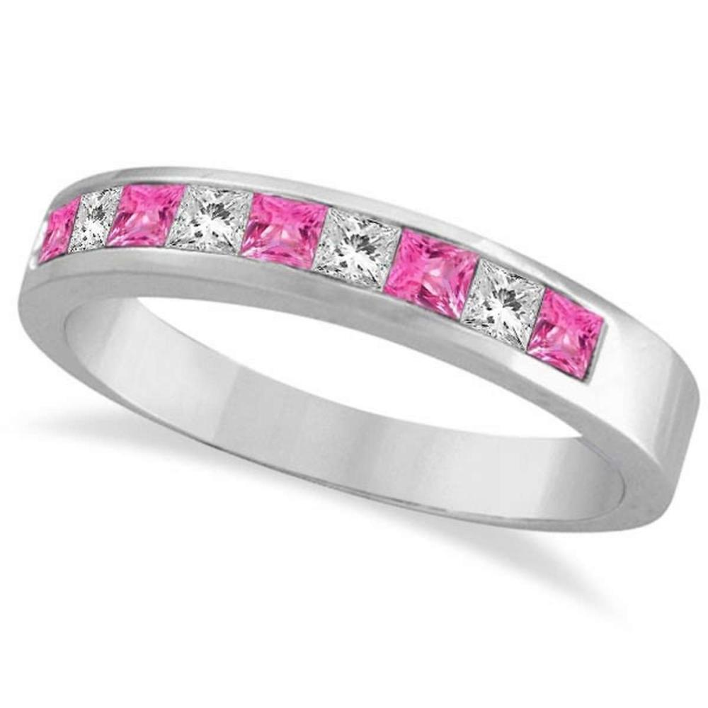 Princess Channel-Set Diamond and Pink Sapphire Ring Band 14k White Gold #PAPPS20546