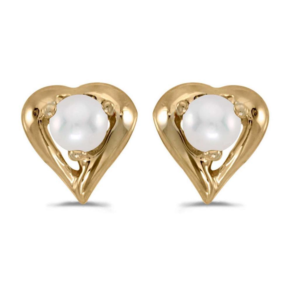 Certified 14k Yellow Gold Pearl Heart Earrings #PAPPS26950