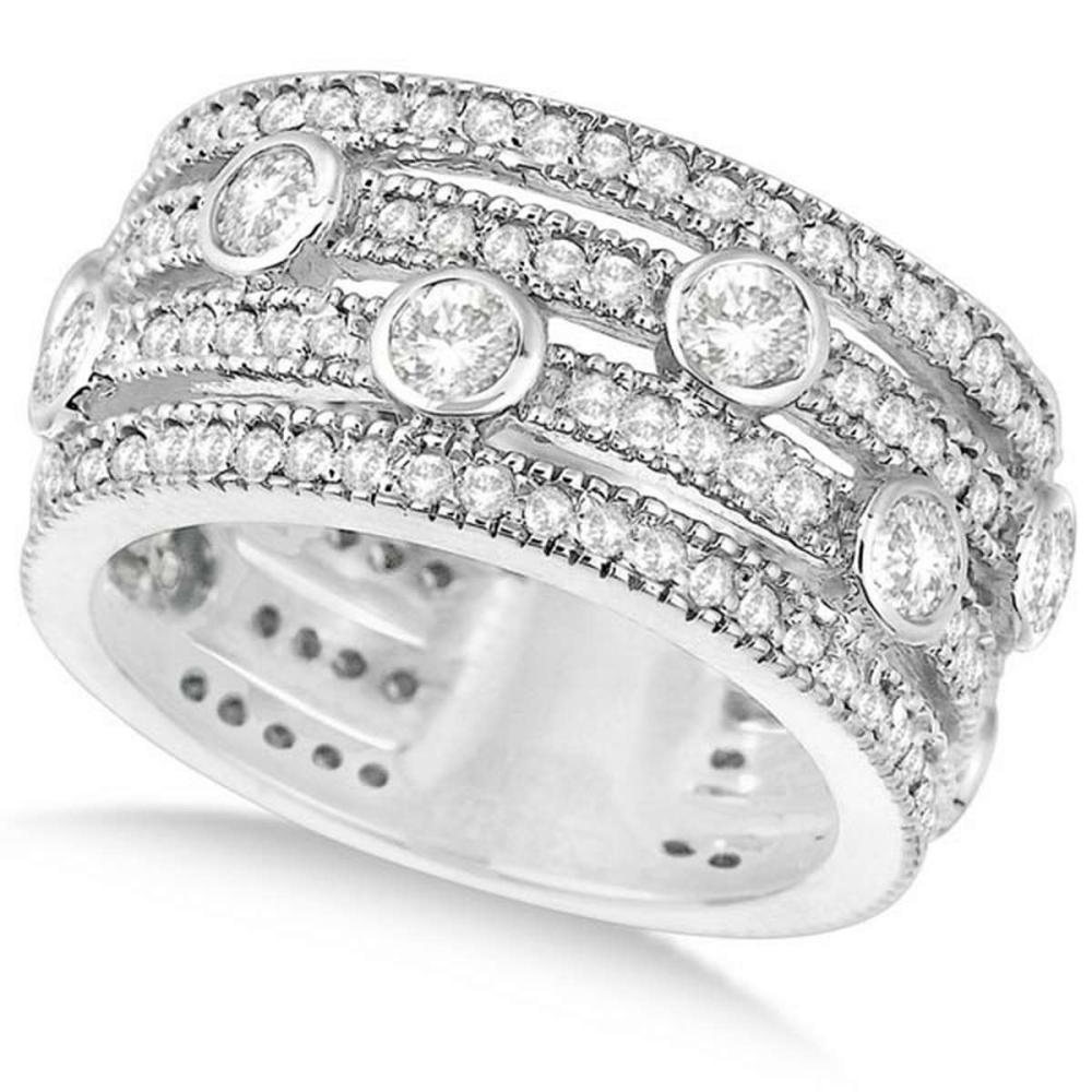 Vintage Bezel and Pave-Set Diamond Ring Band 14k White Gold (1.85ct) #PAPPS20534