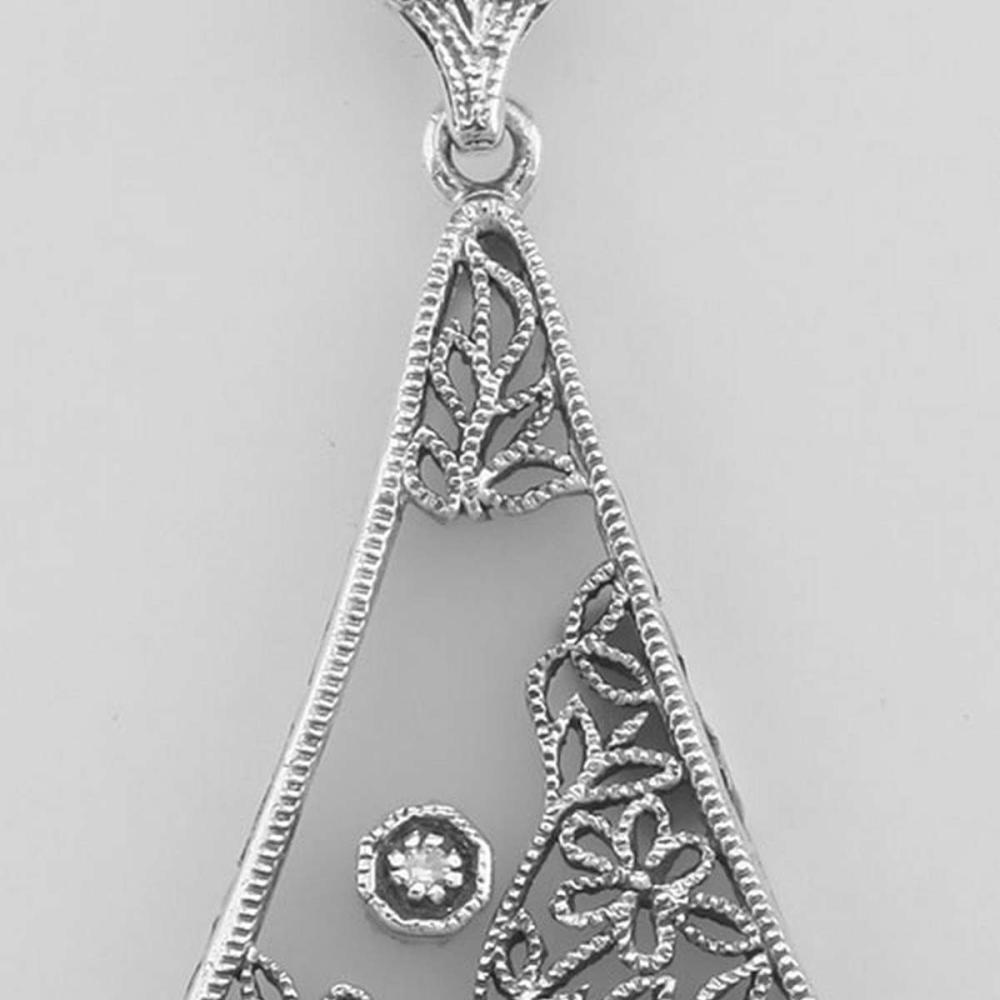 Camphor Glass Crystal Filigree Pendant w/ Diamond - Sterling Silver #PAPPS98078