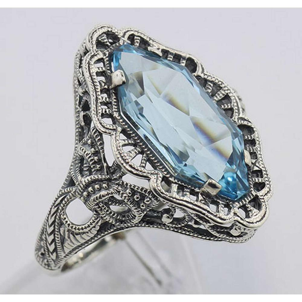 Art Deco Style 4 Carat Blue Topaz Filigree Ring - Sterling Silver #PAPPS97748