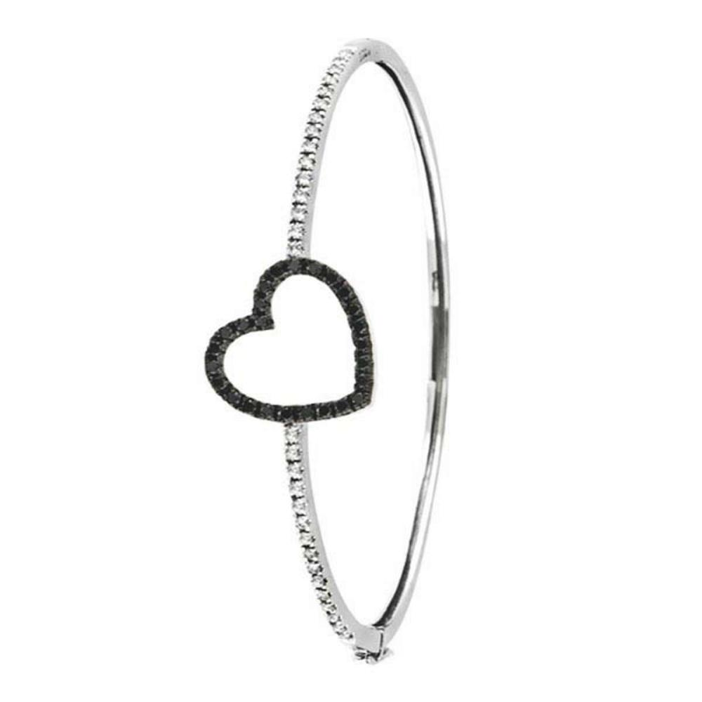 Black and White Diamond Heart Bangle Bracelet 14k White gold (1.00ctw) #PAPPS51657