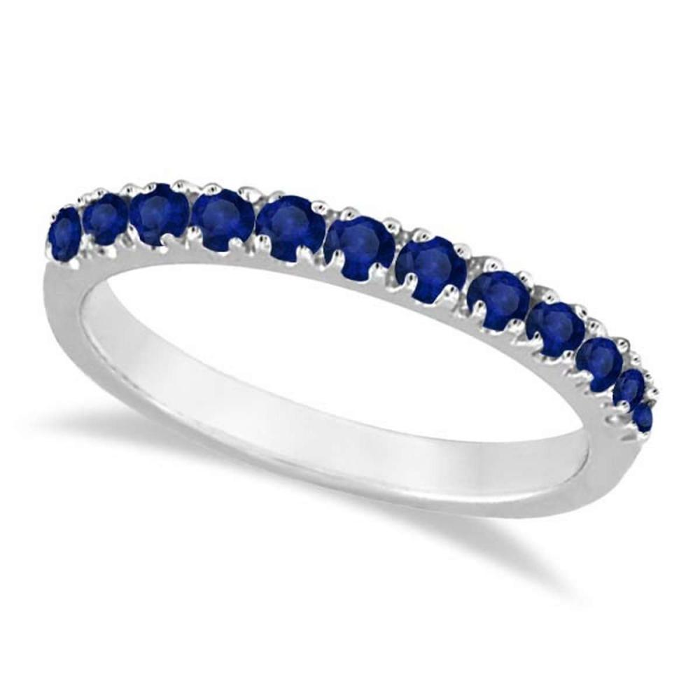 Blue Sapphire Stackable Ring/ Anniversary Band in 14k White Gold #PAPPS20559