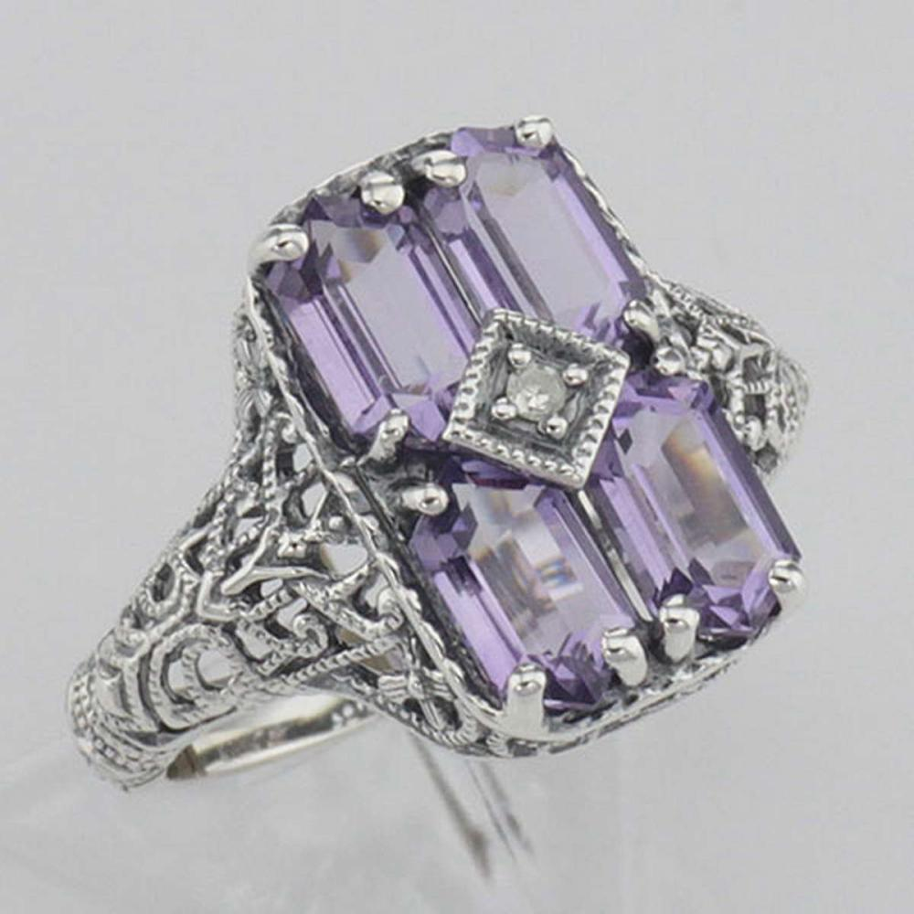 Antique Style Four Stone Amethyst / Diamond Filigree Ring Sterling Silver #PAPPS98120