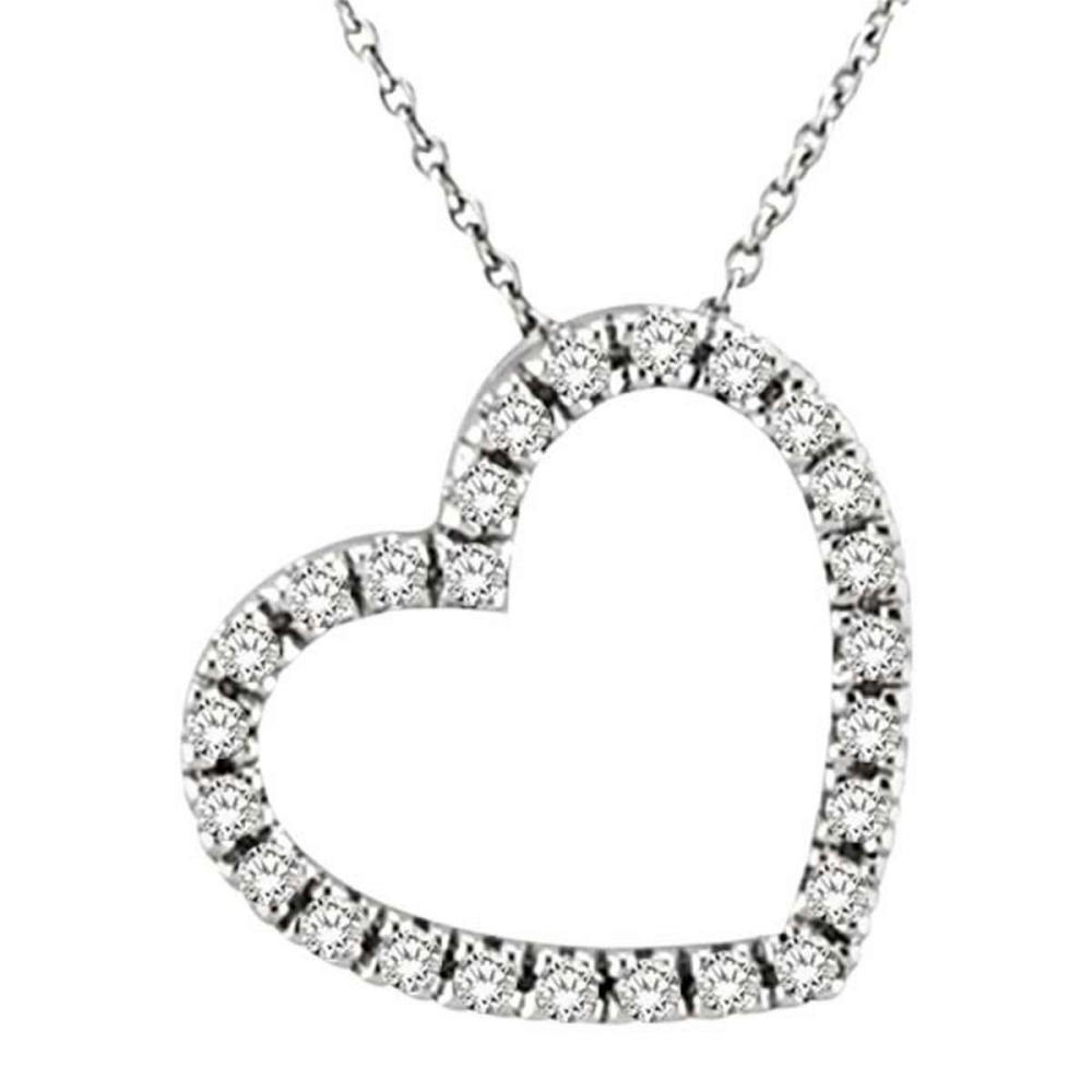 Diamond Heart Pendant Necklace in 14k White Gold (1/4 ctw) #PAPPS51661