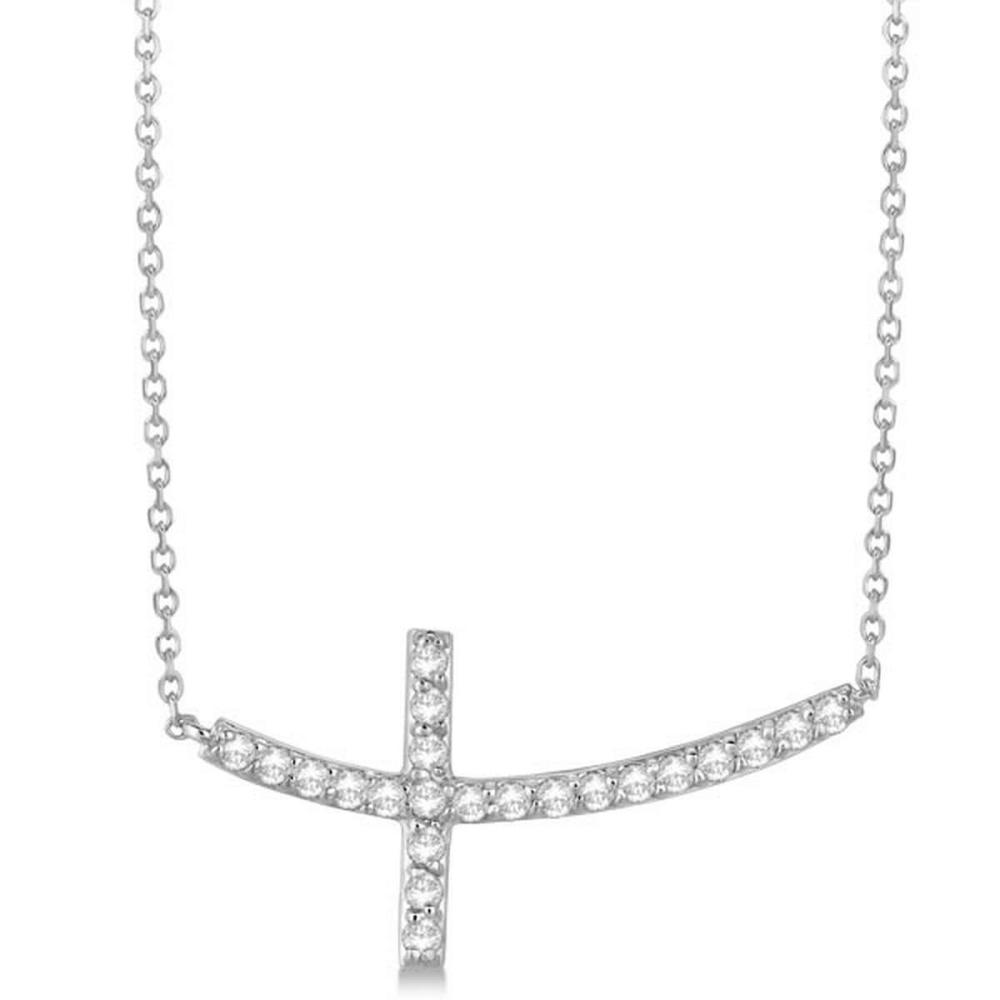 Diamond Sideways Curved Cross Pendant Necklace 14k White Gold 0.75 ct #PAPPS20556