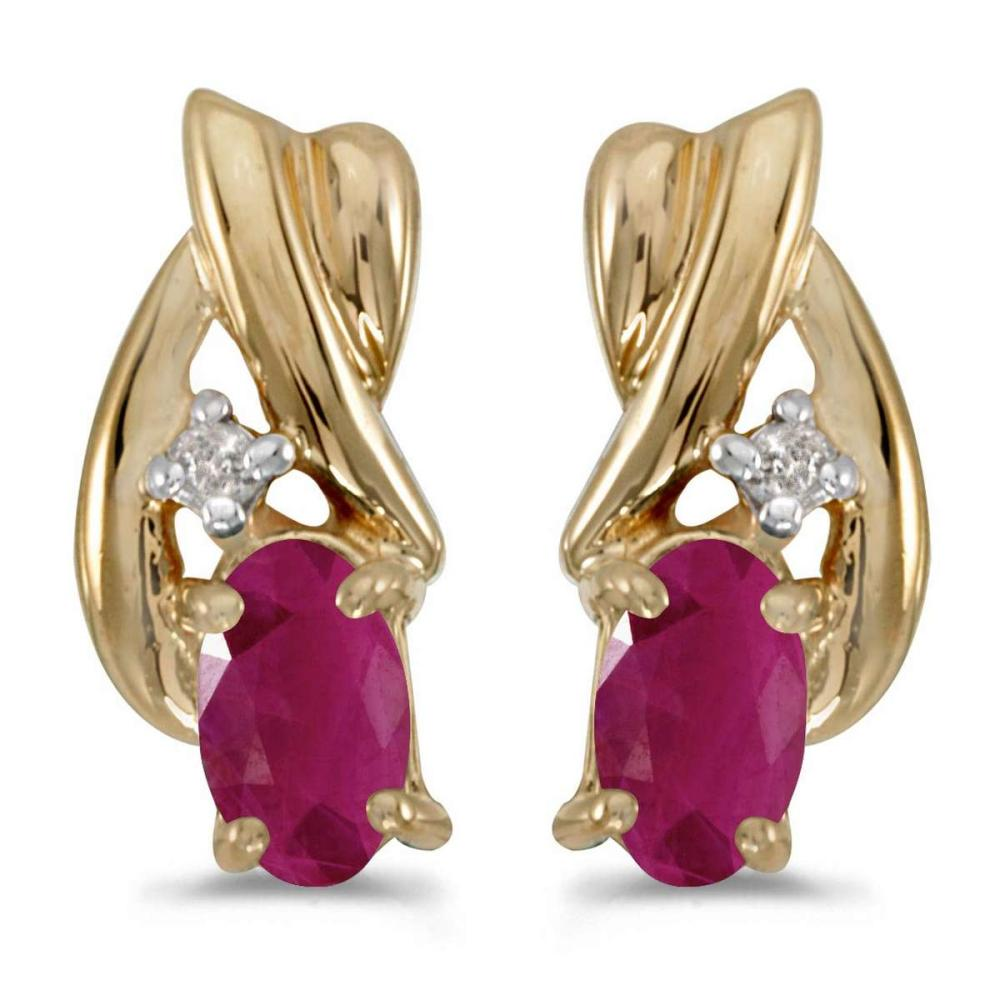 Certified 14k Yellow Gold Oval Ruby And Diamond Earrings 0.38 CTW #PAPPS26995