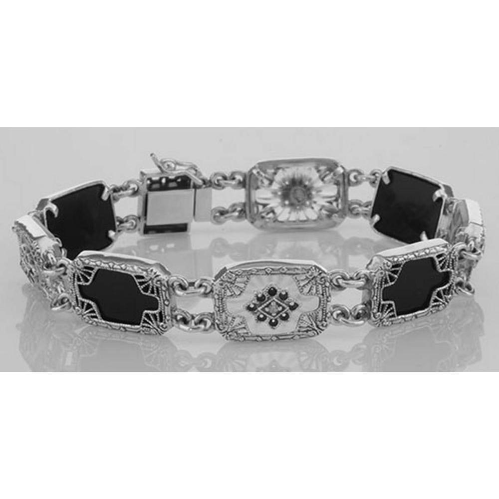 Victorian Style Bracelet Onyx / Camphor Glass Diamond Sterling Silver #PAPPS98043
