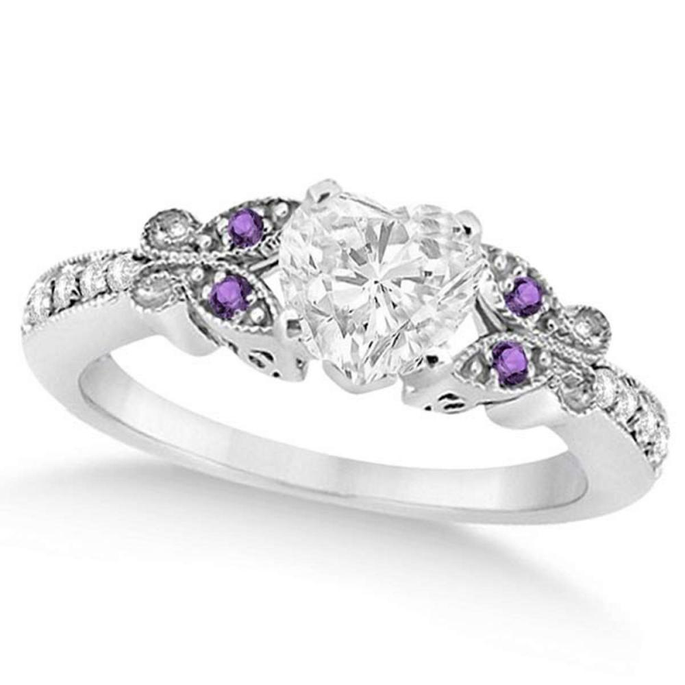 Heart Diamond and Amethyst Butterfly Engagement Ring 14k W Gold (1.40ct) #PAPPS21204