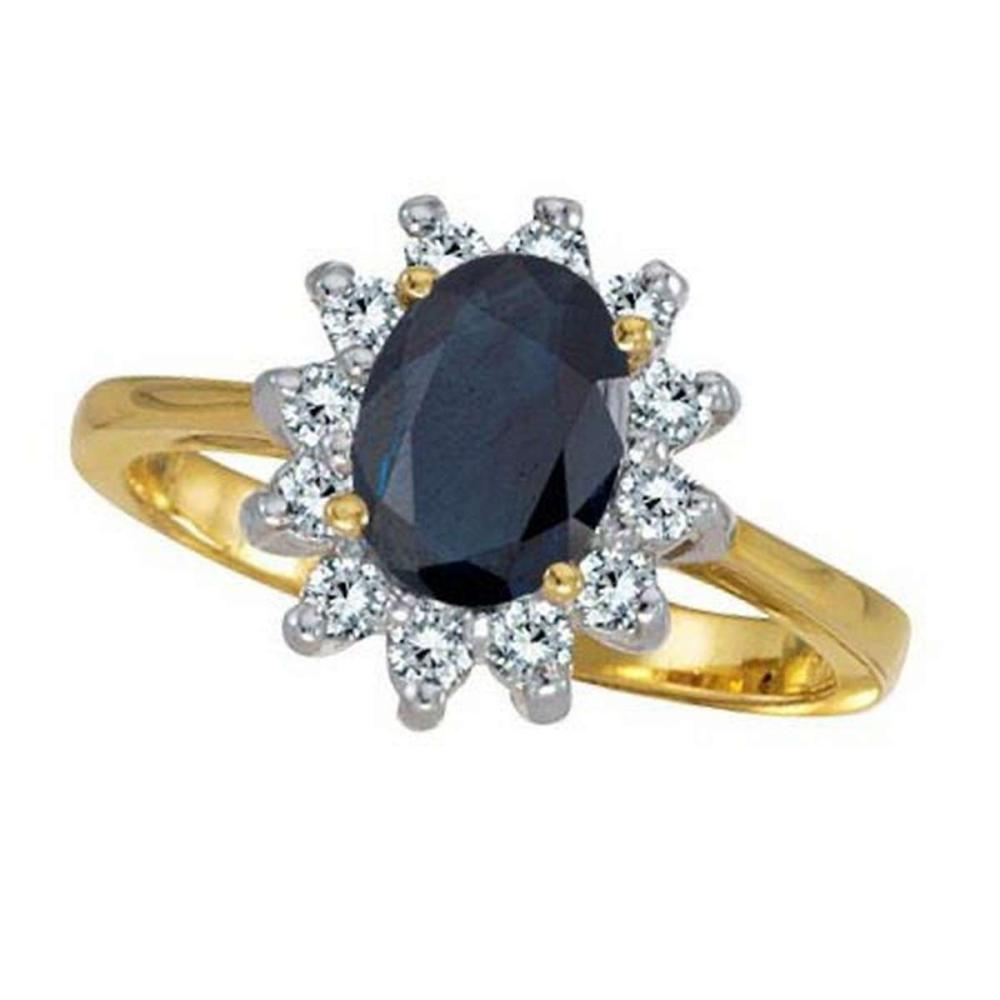 Lady Diana Blue Sapphire and Diamond Ring 14k Yellow Gold (2.10 ctw) #PAPPS20554