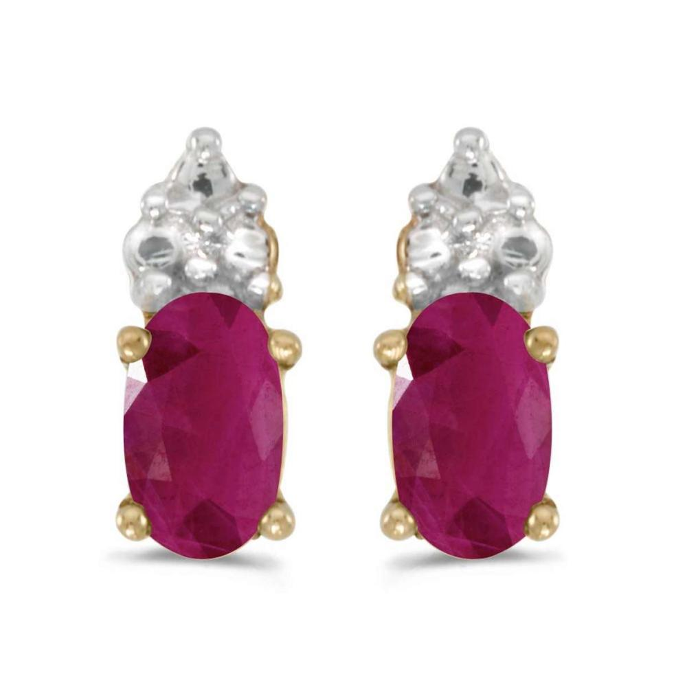 Certified 14k Yellow Gold Oval Ruby Earrings 0.38 CTW #PAPPS26961