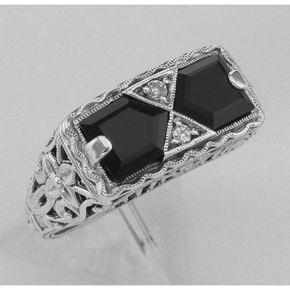 Art Deco Style Black Onyx Filigree Ring with 2 diamonds - Sterling Silver #PAPPS98131