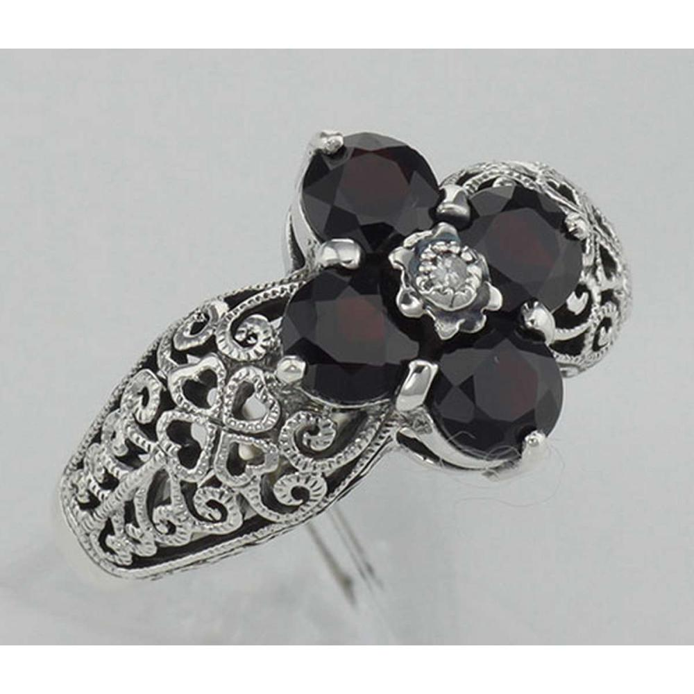 Art Deco Style Red Garnet Filigree Ring w/ Diamond - Sterling Silver #PAPPS98141