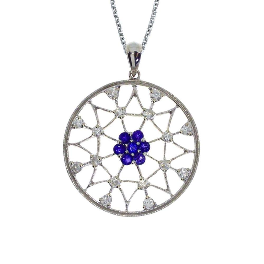 Certified 14k White Gold Sapphire and Diamond Spider Web Pendant #PAPPS26942