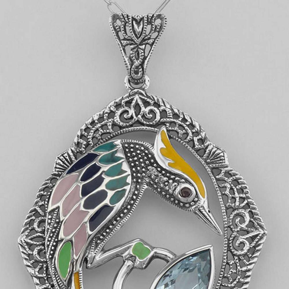 Filigree Enamel Bird Pendant w/ 3 Carat Blue Topaz - Sterling Silver #PAPPS98068