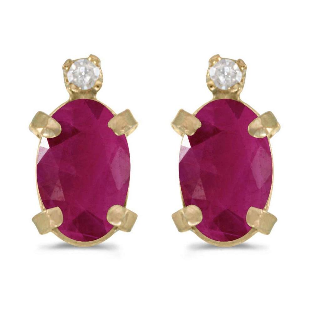 Certified 14k Yellow Gold Oval Ruby And Diamond Earrings 0.74 CTW #PAPPS27018