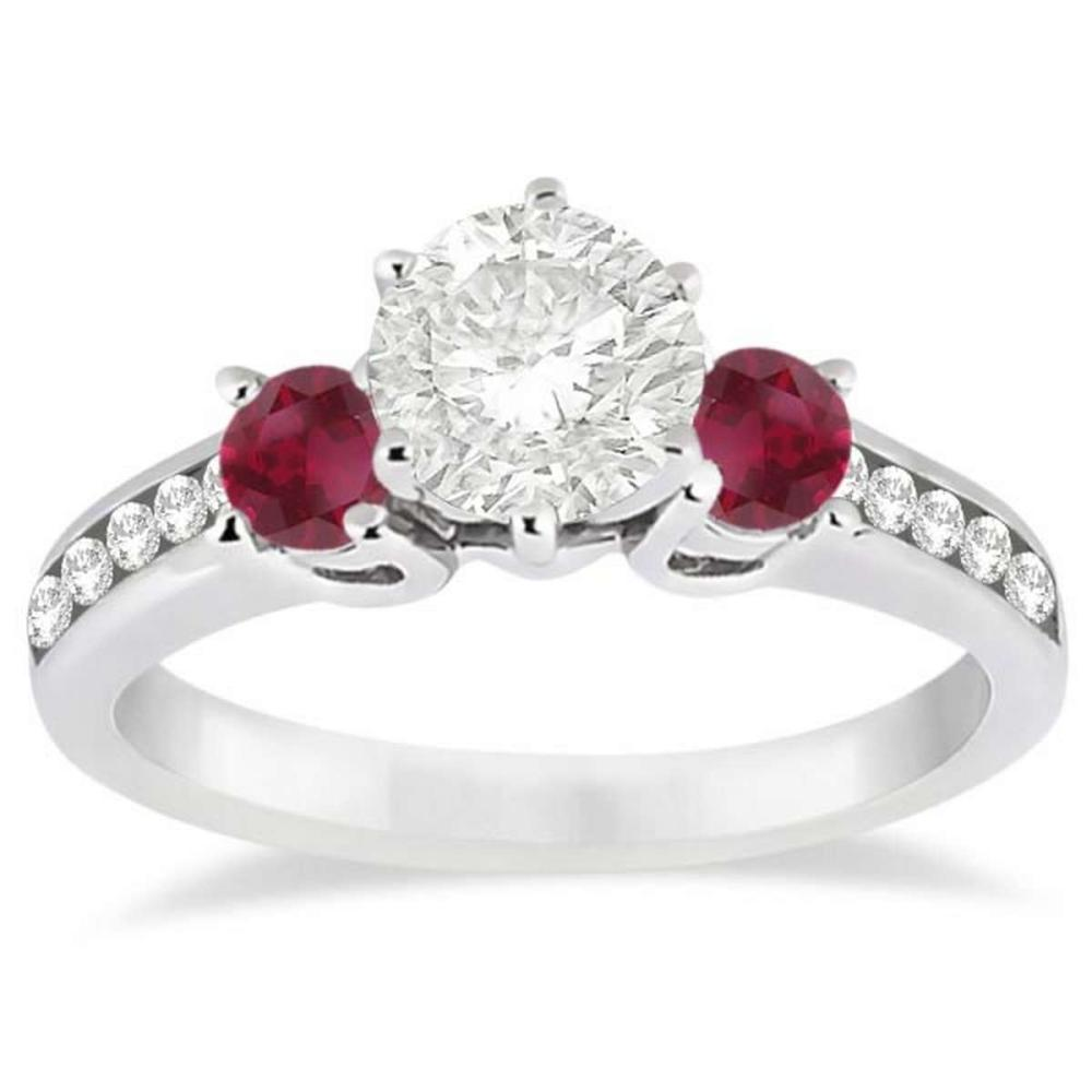 Three-Stone Ruby and Diamond Engagement Ring 14k White Gold (1.30ct) #PAPPS21209
