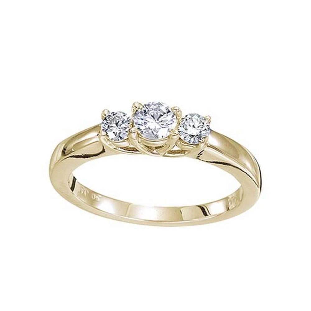 Certified 14k Yellow Gold 0.50 Ct Three Stone Trellis Diamond Ring 0.5 CTW #PAPPS51472