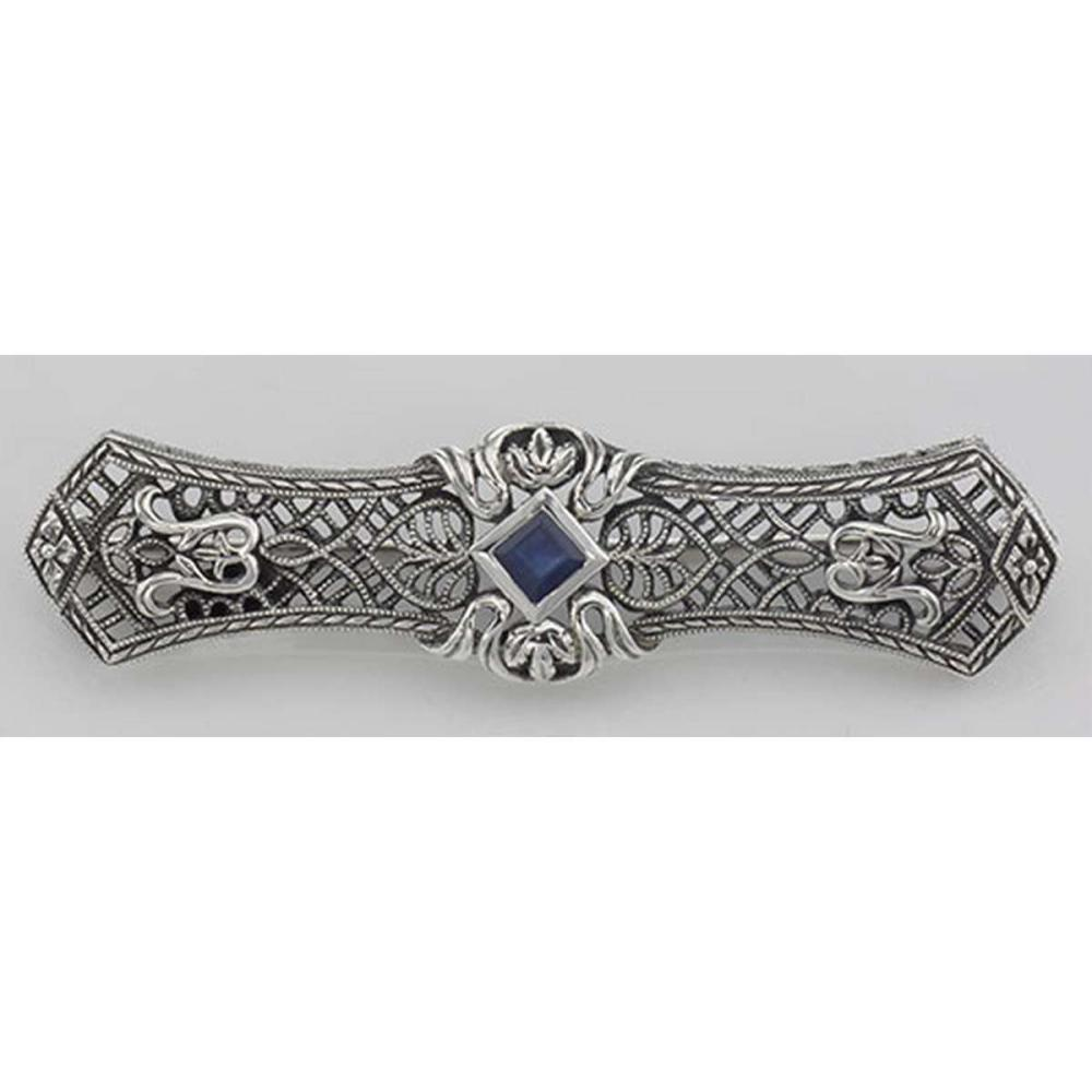 Art Deco Style Blue Sapphire Filigree Bar Pin / Brooch - Sterling Silver #PAPPS98087