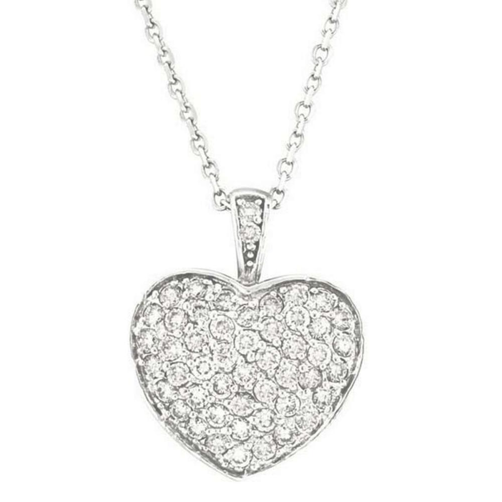 Diamond Puffed Heart Pendant Necklace in 14k White Gold (1.30ctw) #PAPPS51659