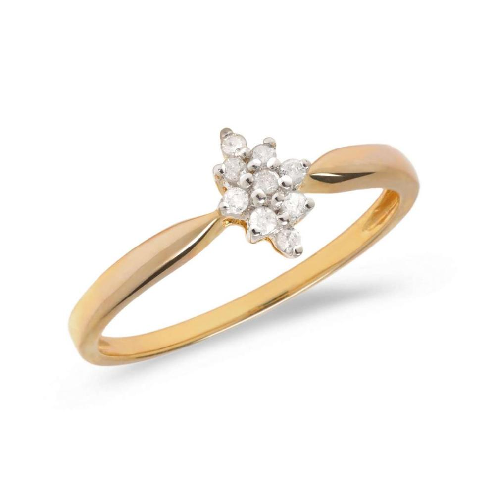 Certified 14K Yellow Gold Diamond Cluster Ring 0.1 CTW #PAPPS25586