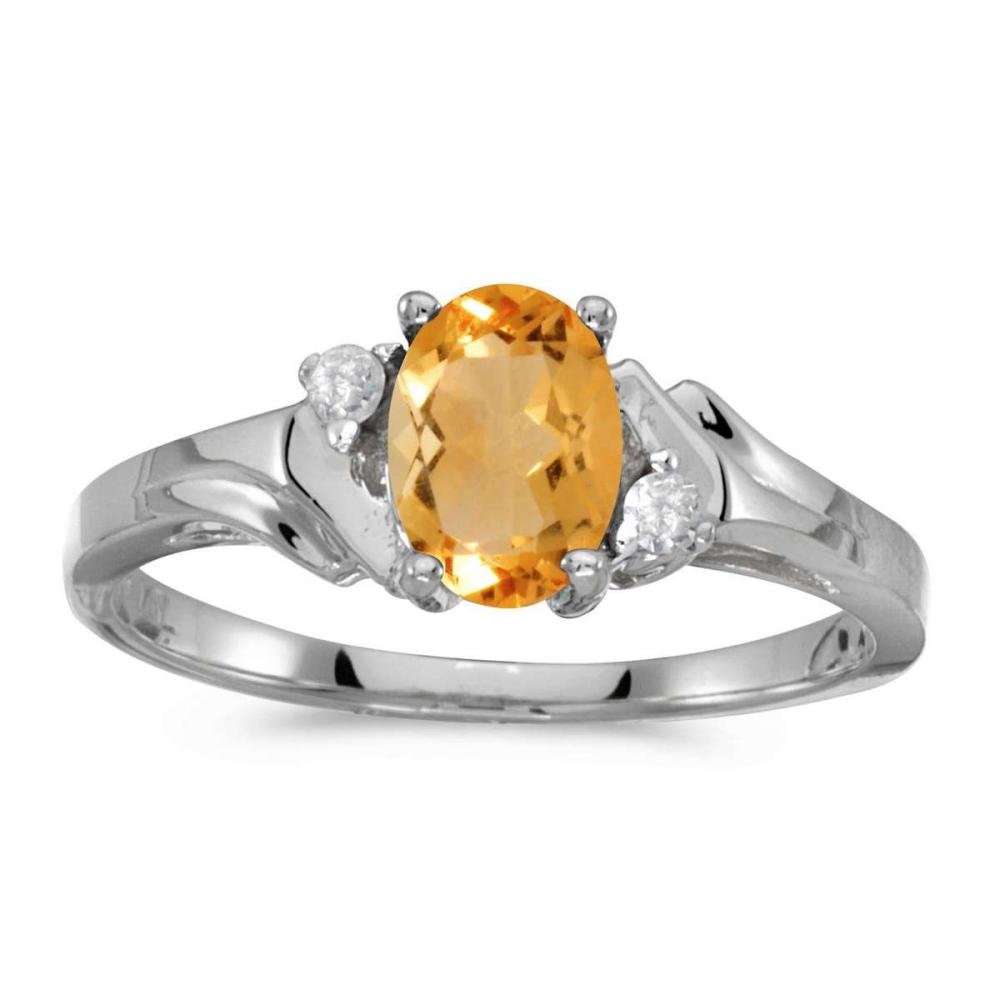 Certified 14k White Gold Oval Citrine And Diamond Ring 0.68 CTW #PAPPS25585