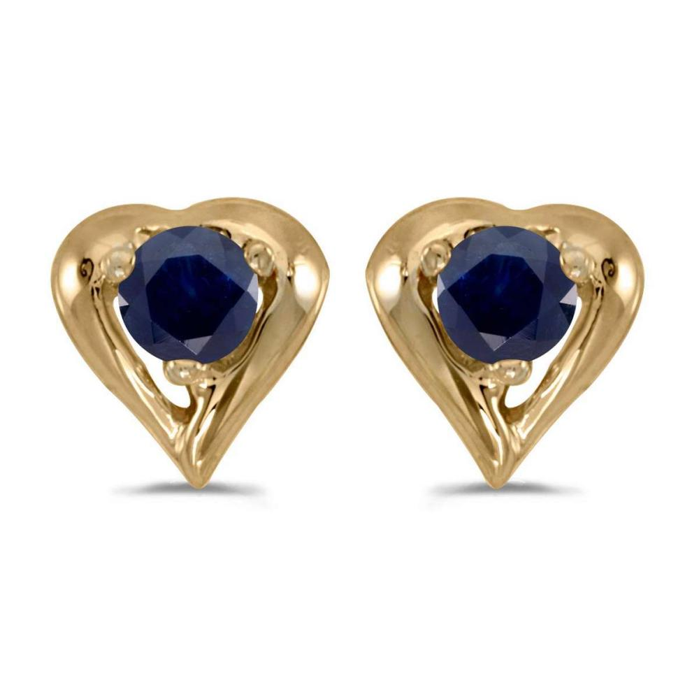 Certified 14k Yellow Gold Round Sapphire Heart Earrings 0.18 CTW #PAPPS26951