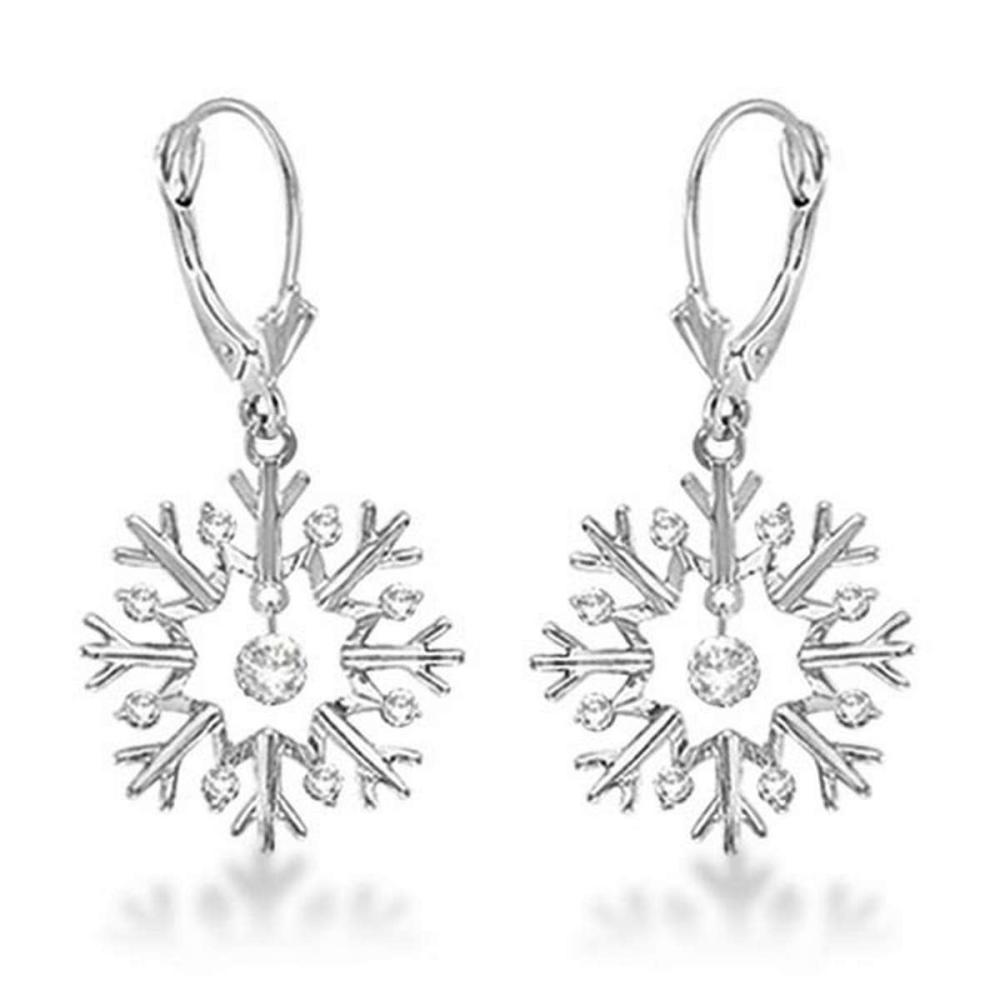 Snowflake Shaped Dangle Drop Diamond Earrings 14K White Gold (0.30ct) #PAPPS20493
