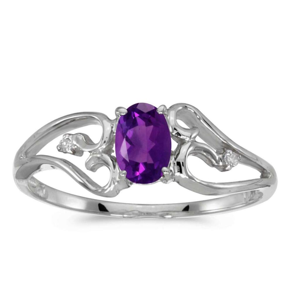 Certified 10k White Gold Oval Amethyst And Diamond Ring 0.35 CTW #PAPPS25619